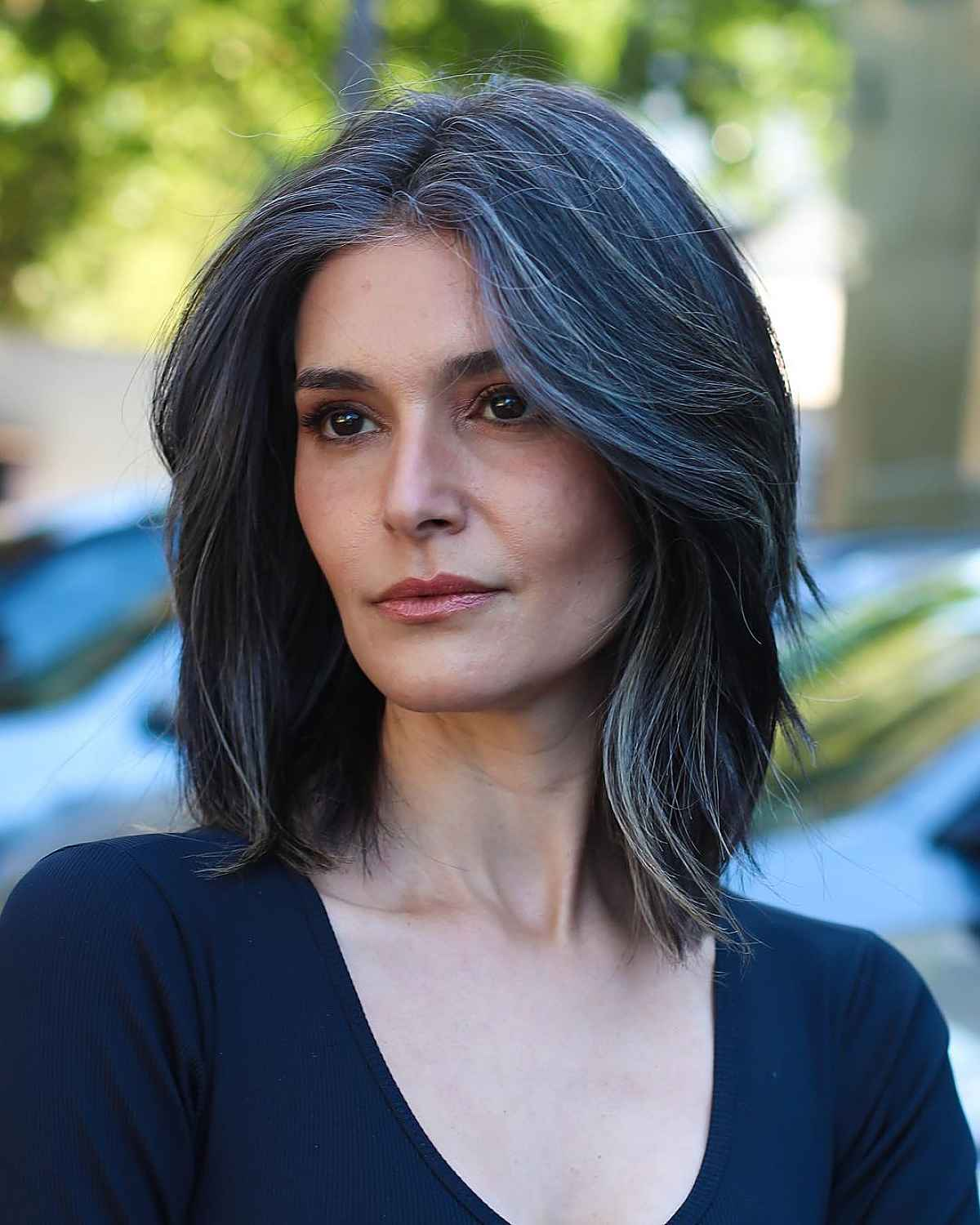 Straight Layered Long Bob for Women Over 40