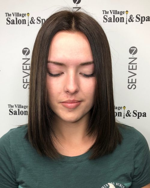 Picture of straight middle part shoulder length hair