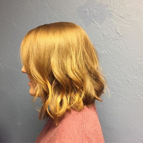 A natural strawberry blonde hair color