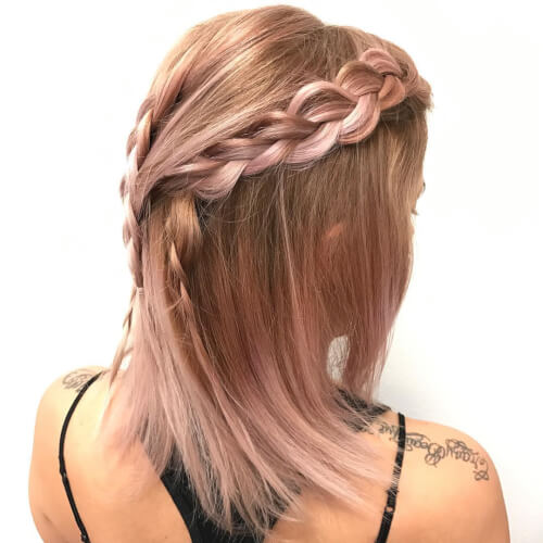 strawberry blonde rose gold hair color