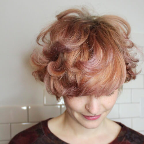 strawberry rose gold swirl hair color