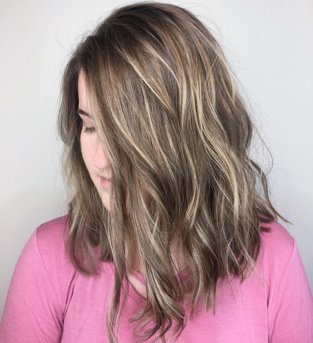 Really Long Bob with Sun-Kissed Highlights