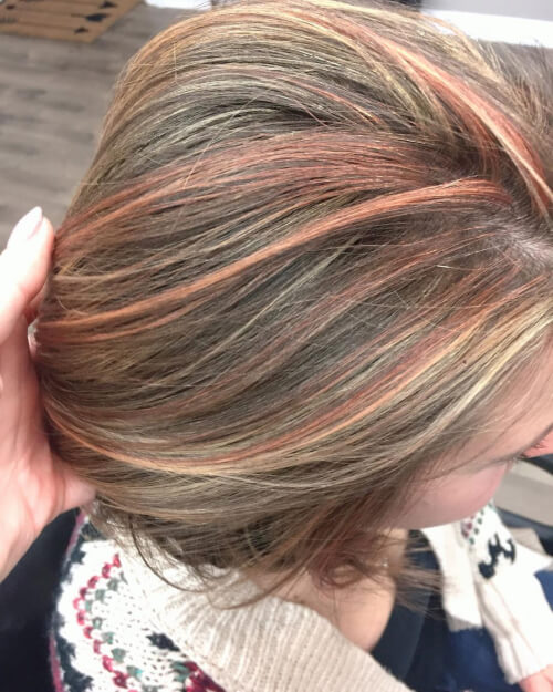 subtle sparkles rose gold hair color