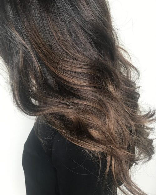 A two toned chocolate brown hair color