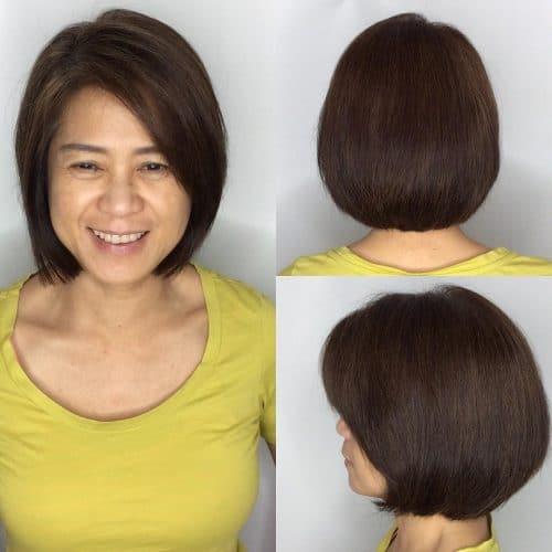 Subtle short brown hair layered bob cut