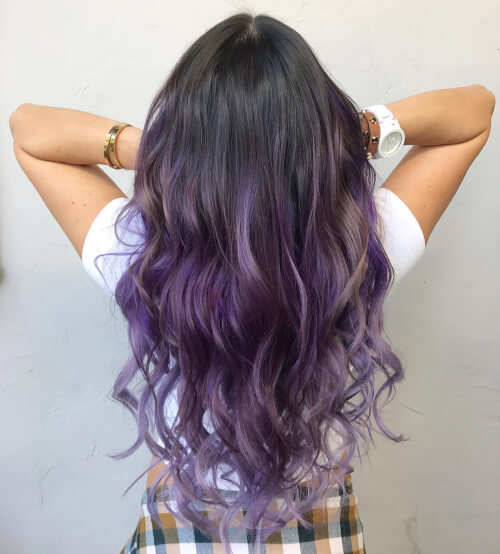 sun kissed purple balayage