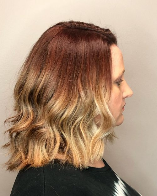 Picture of a sunflower inspired shoulder length ombre