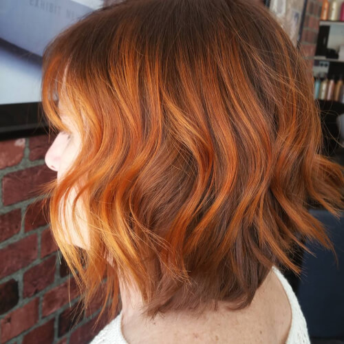 sunny copper red bob hair color
