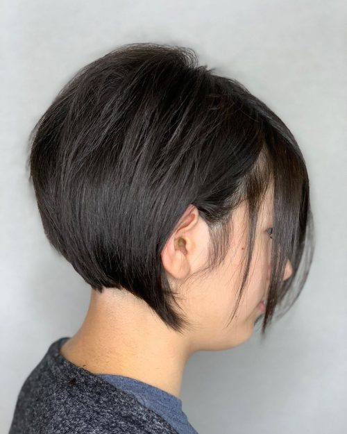 Super Short Stacked Haircut on Sleek Black Tresses