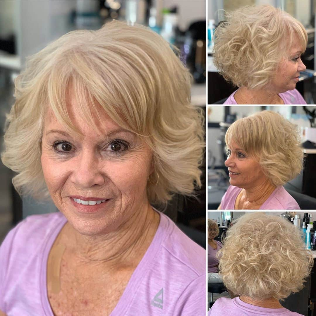 Swept Back Curls with Bangs