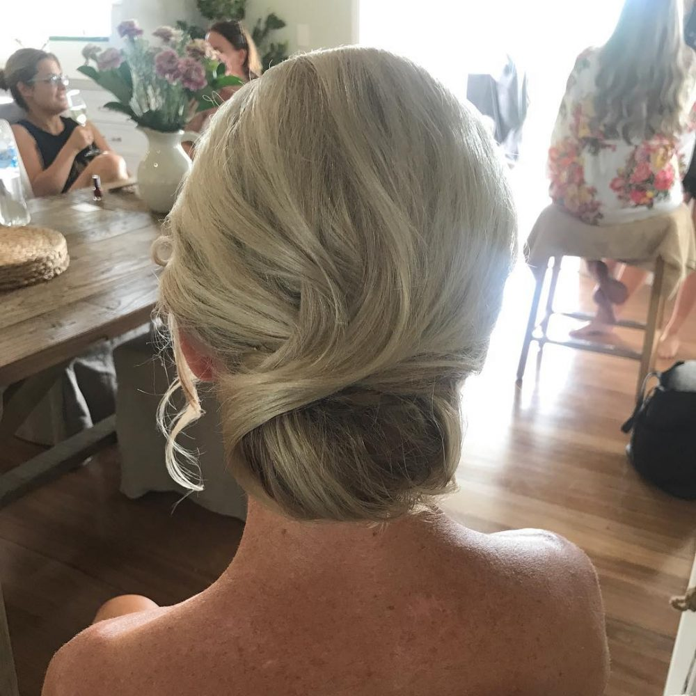 Swept Up low bun updo