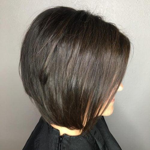 A medium layered tapered bob haircut