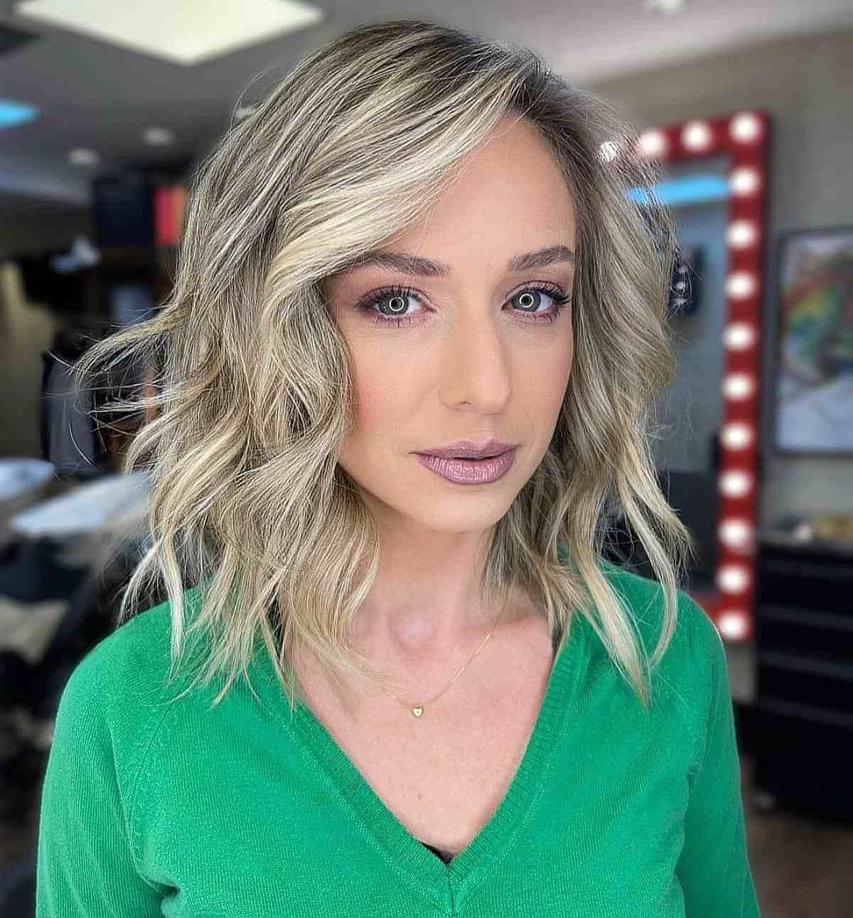 A textured blunt bob haircut