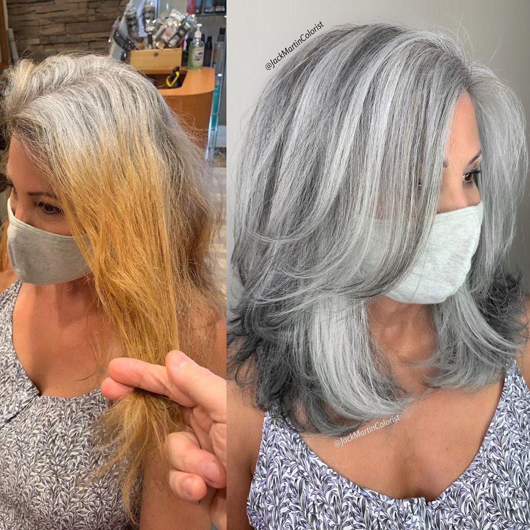 Corte de pelo con textura lobular para mujeres mayores de 50 años con cabello grueso