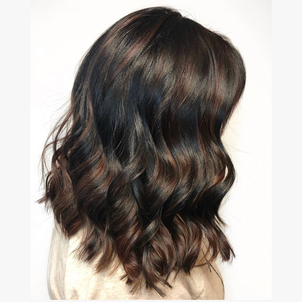 Textured Lob with Face-Framing Fringe hairstyle