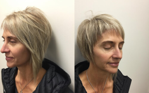 textured long-pixie on woman over 50