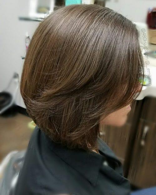 Graduated layered medium bob haircut