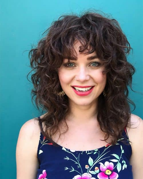 Short Curly Hair With Bangs And Layers 10