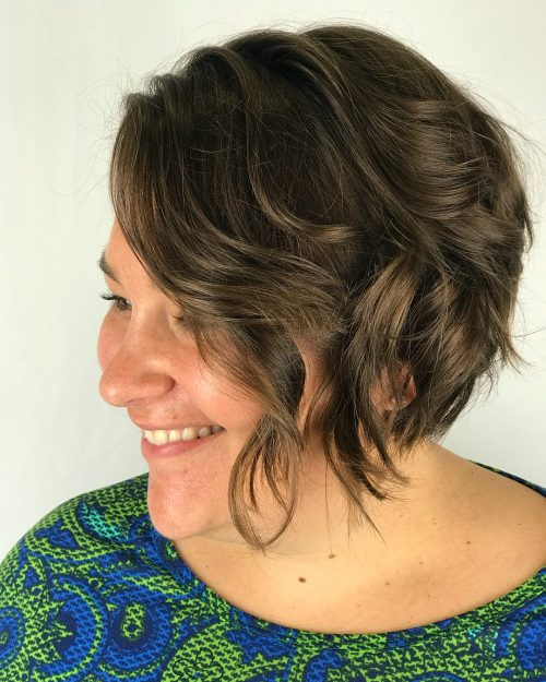 Picture of a lovely and textured chin length bob cut