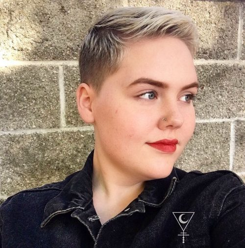 Tight Fade Pixie with Blonde Highlights
