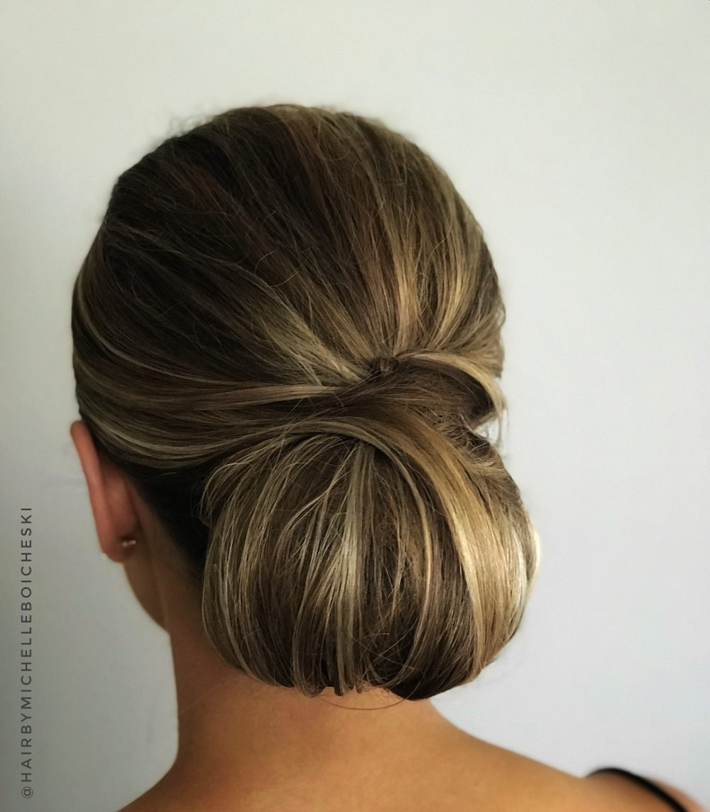 Timeless Low Textured Bun hairstyle