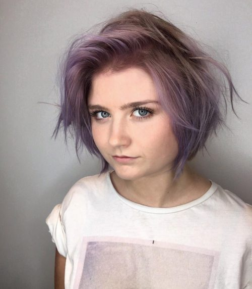 Tousled purple bob for straight hair