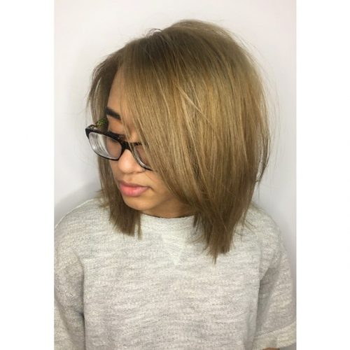 Picture of trendy and soft dark blonde hair