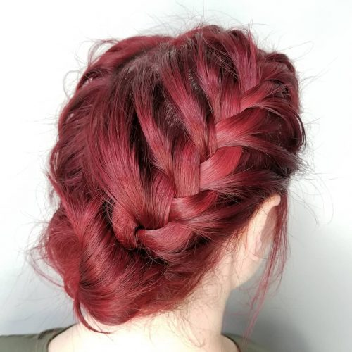 Picture of a trendy mermaid French braided updo