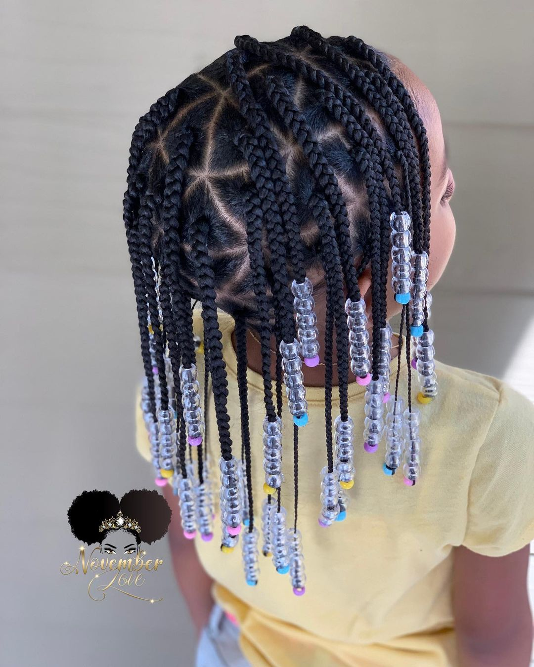 Triangle Box Braids for Little Girl with Beads