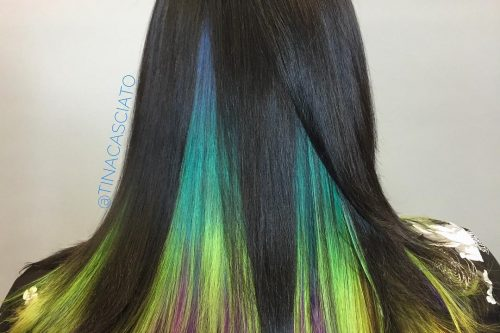 20 enchanting winter hair colors you must try this year 24 peekaboo highlights the perfect way to zest up your tresses pmusecretfo Image collections