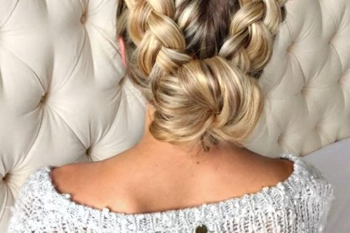 Twinning braided updo