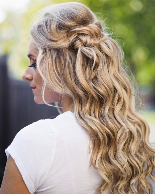 Picture of a twisted back waves long hairstyle for wedding