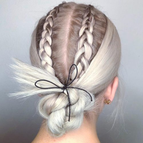 Picture of a twisted platinum blonde French braid updos