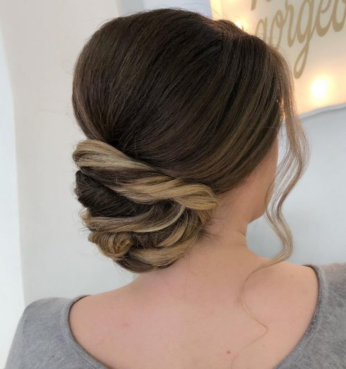 Picture of two-tones twists formal easy updo