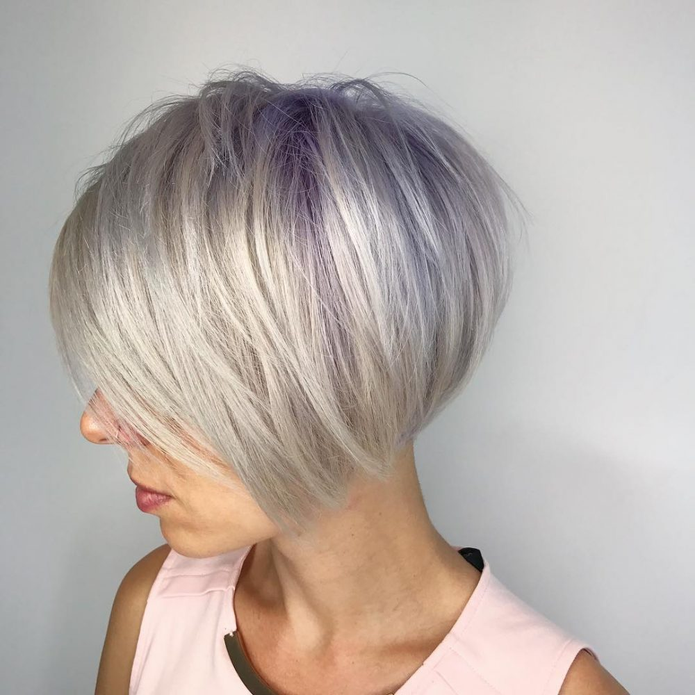 Ultra violet and platinum pixie for fine hair