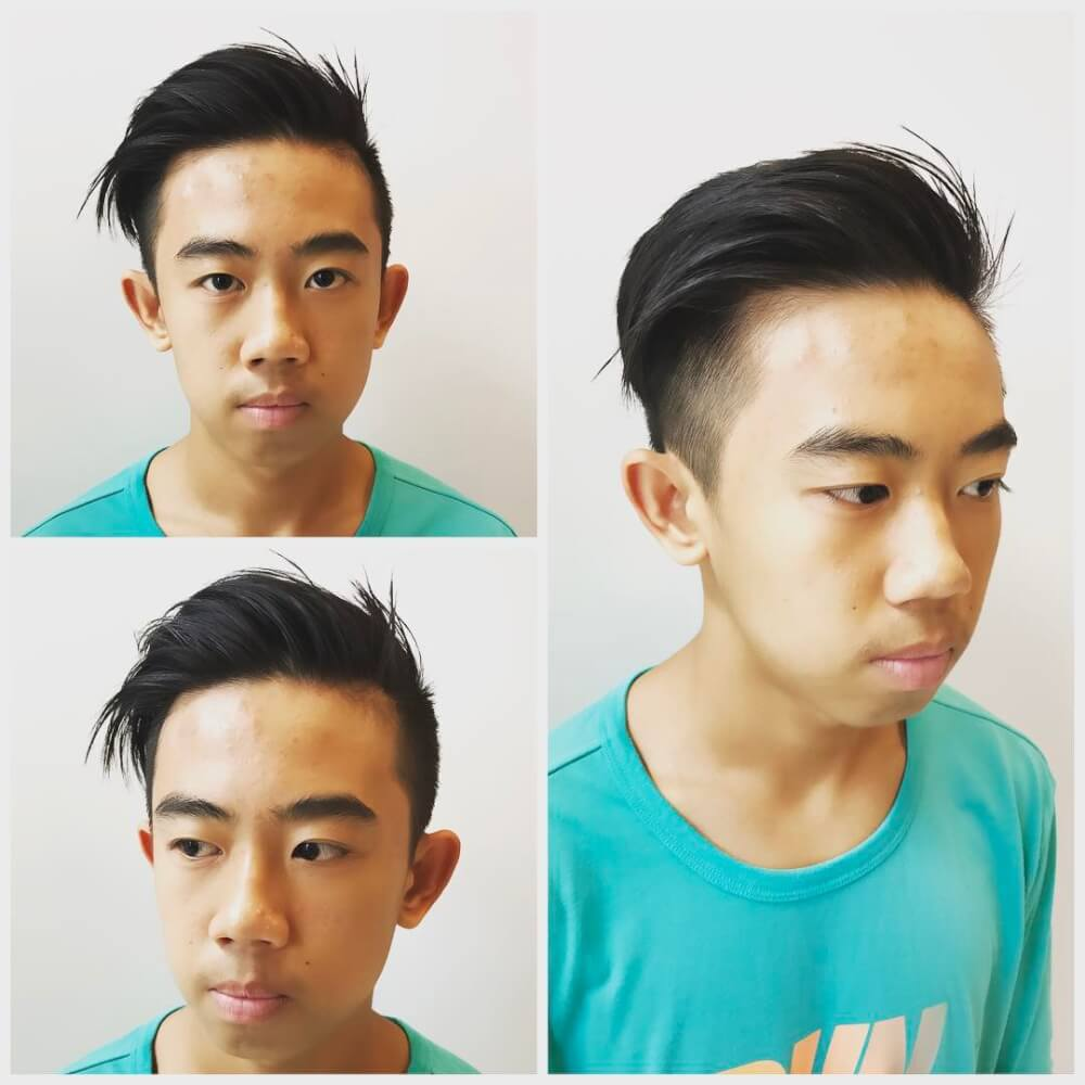 A cool disconnected undercut for boys with long haircuts