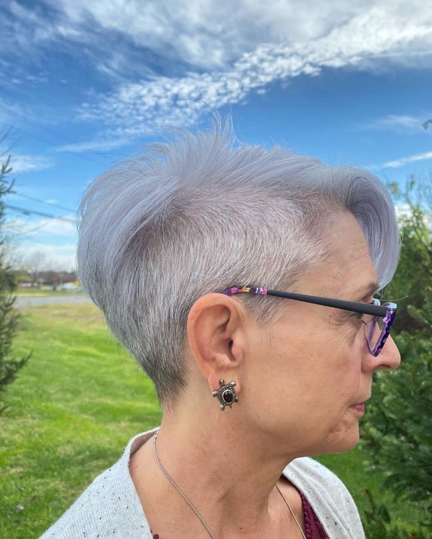 Undercut pixie cut for older women