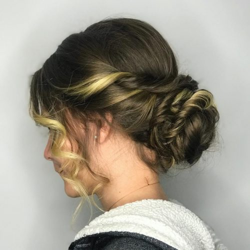 An updo for prom for medium layered hair
