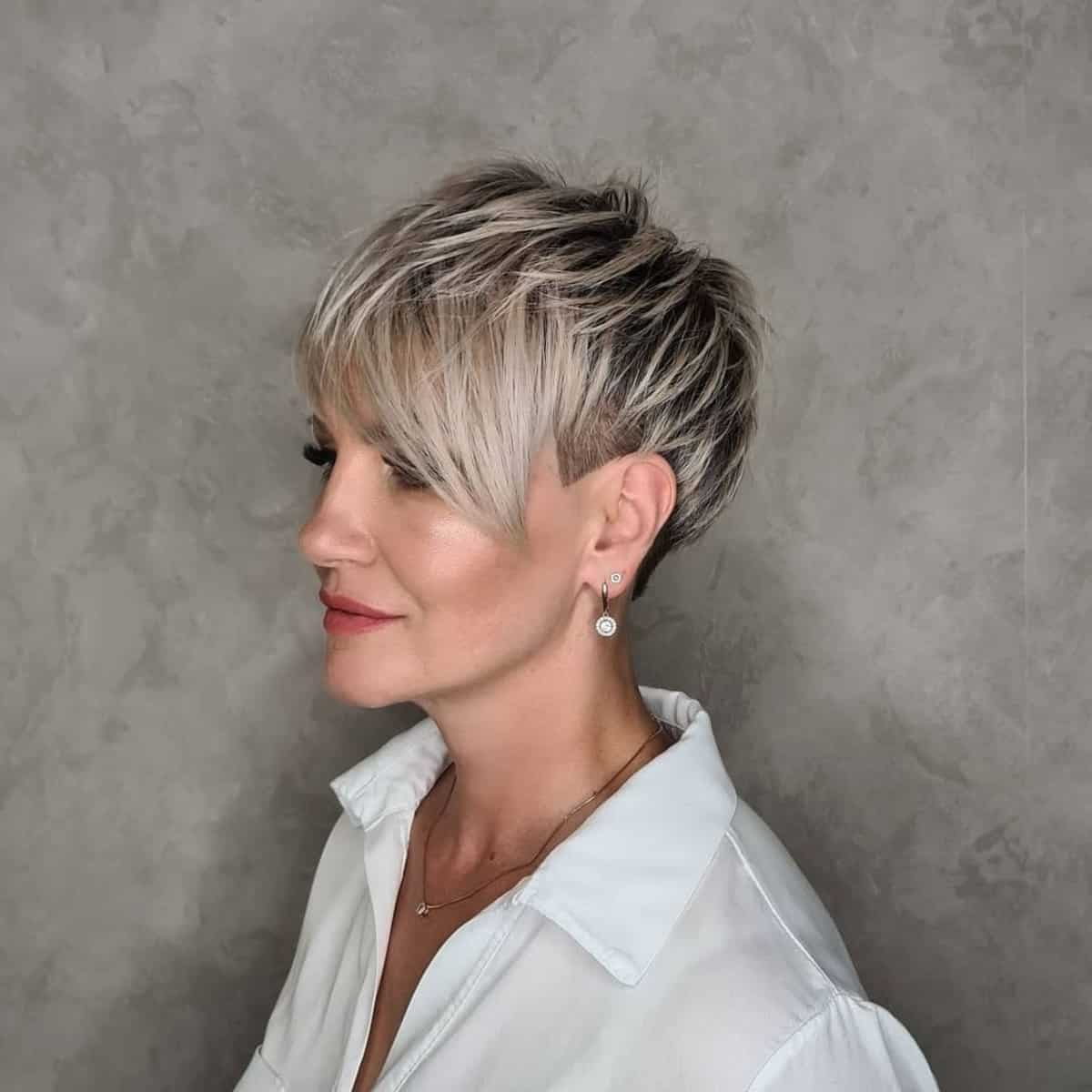 Very short textured pixie for women over 30