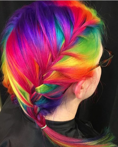 Picture of a vibrant rainbow French braid