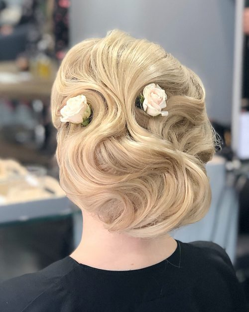 Picture of a vintage inspired swirls formal easy updo