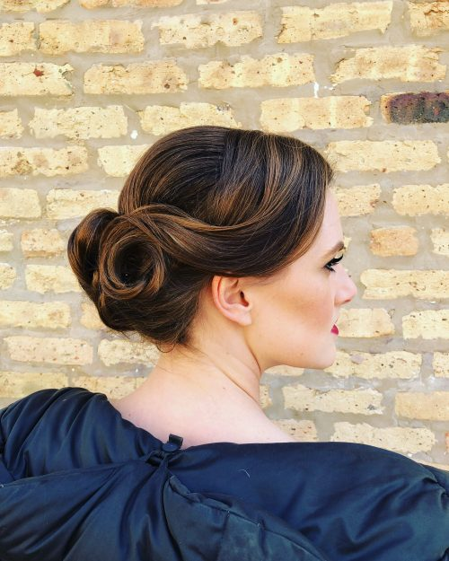 A shoulder length vintage updo