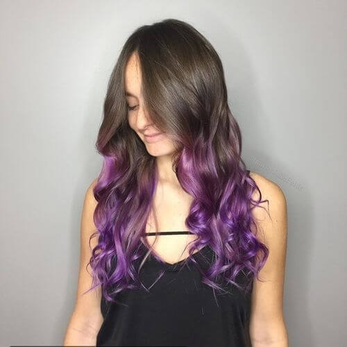 Violet purple ombre hair color