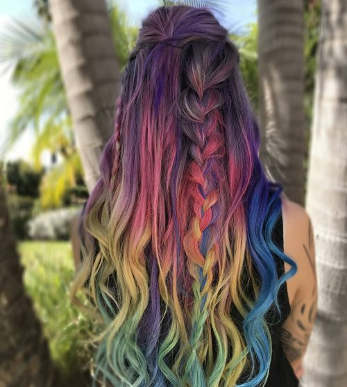 Picture of a vivid rainbow colors with French braids