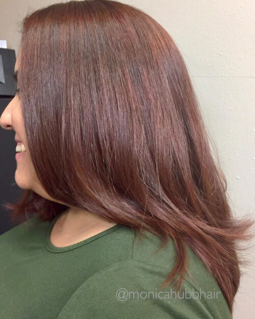 Warm auburn hair color