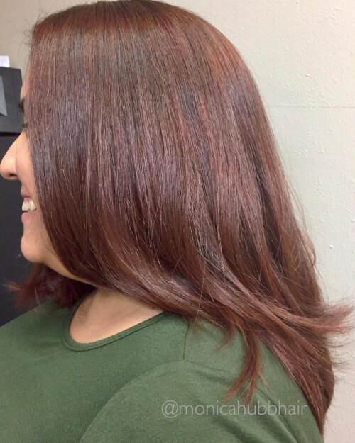 Warm brown auburn hair color