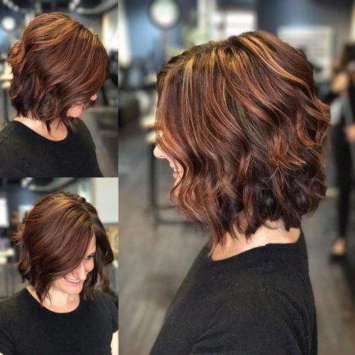 Picture of a warm auburn tones shoulder length hair
