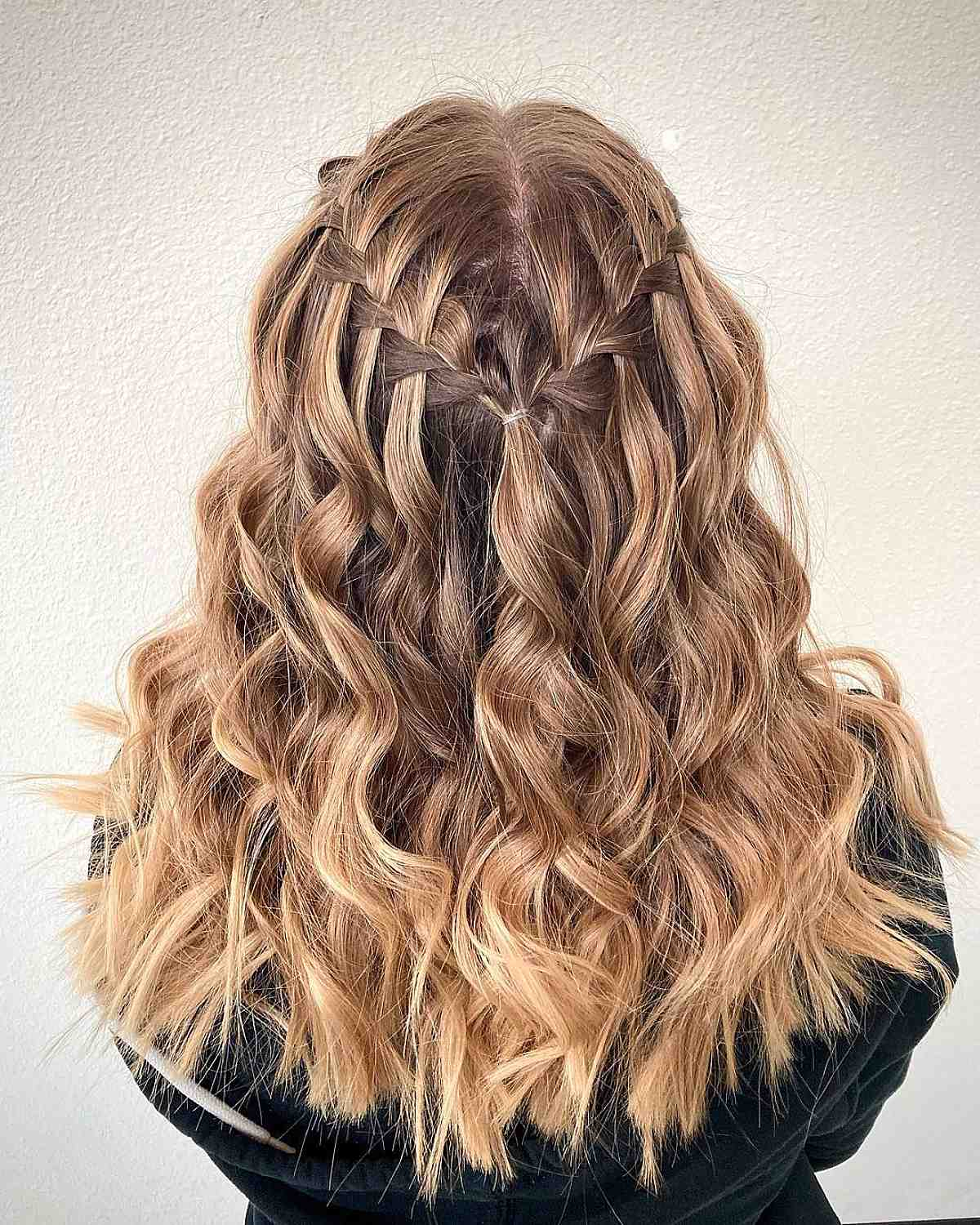 Waterfall Braid with Curls and Waves