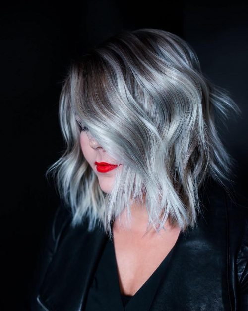 Picture of waves of silver shoulder length hair