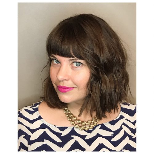 Picture of a wavy bob with bangs